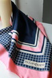 Yves Saint Laurent pink+navy scarf
