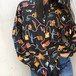 90's Silk lady staff collection print blouse