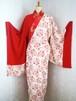 赤×白地花束ちりめんロング半身着物typeA