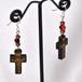 イエスキリストの十字架ピアス(ブラウン) ワイルーロの実 シルバーフック