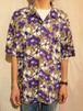 Hibiscus pattern open collar shirt [G-1219]