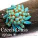 英国 ヴィンテージ★ターコイズ ガラス ドーム型 クラスター ブローチ 1960s