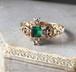 Rococo Emerald Diamond Cross Ring