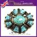 英国 MIRACLE ターコイズガラス ケルティック クロス ヴィンテージ ブローチ 1960s ケルト十字
