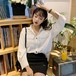 韓国無地合わせやすいスリム可愛いシャツ・ブラウス トップス