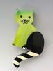 Pavone(パヴォンヌ) 緑のネコ ブローチ
