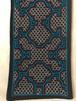 テーブルセンター刺繍黒AAA 17x61cm 青と白と赤 裏加工 アマゾン・シピボ族の泥染め SHIPIBO