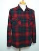 1960's PENDLETON ウールシャツ ループカラー&ボックス型 緑×紺×赤 表記(M) ペンドルトン
