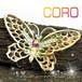 ヴィンテージ Coro★レッド オーロラクリスタル フェイクパール バタフライ ブローチ 1960s コロ 蝶