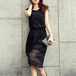 【dress】エレガント気質満点レースデートワンピース着瘦せ透かし彫り