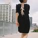 Black puff sleeves mini dress