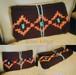 手編み オルテガ柄ネイティブ風バッグ ズパゲッティ  クラッチバッグ タッセル コンチョバッグ