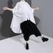 モード系 トップス ロングシャツ ヘム丈 半袖 薄手 オーバーサイズ ビッグシルエット アシンメトリー  大人きれいめ キレカジ  韓国 オルチャン 20代 30代