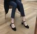 レディース パンプス ストラップ チャンキーヒール スクエアトゥ スエード 黒 ブラック ベージュ 春夏 美脚 脚長 上品 韓国