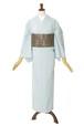 綿麻 片貝木綿 単衣きもの 仕立て上がり 縞№208 水色系 着用時期5月~10月