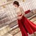 Aラインタッセルドレス 七分袖 ミディ丈 膝下丈 光沢 切り替え 高見え 華やか 赤 スパンコール