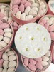 ブーケ缶ピンクスノーボール お菓子のミカタ