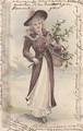 古絵葉書エンタイア「花篭を持つ女性」(1900年代初頭)