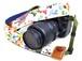 カメラストラップ 4㎝巾 一眼レフ用 片面 紅型デザイン 沖縄の果実と動物たち
