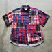 White Mountaineering  MARDAS CHECK PATCHWORK HALF SLEEVES SHIRT