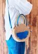 サークルバッグ かご ショルダーバッグ 本革 オーシャン ブルー『再販』