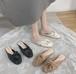 レディース ミュール サンダル スリッパ くしゅくしゅ ギャザー かかとなし ラウンドトゥ ぺたんこ 合皮 革 黒 ブラック ベージュ カーキ 緑 グリーン 春夏 履きやすい 韓国