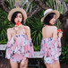 【送料無料】【2色】ワンピース 水着 フリル 花柄 オフショル ビキニ 4点セット リゾート プール 海 夏