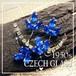 チェコガラス★サファイアブルー ラインストーン  ヴィンテージ フラワー ブローチ  1950s お花