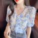 【tops】美人度アップスウィートレースVネックパフスリーブトップス花柄3色 M-0224