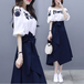 【set】定番シンプル海外トレンド セットアップ刺繍トップス+リボンスカート
