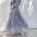 スカート 不規則 チュール チュールスカート 透け感 こなれ感 ロング丈 春 エアリー ふんわり 上質感