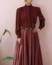 burgundy vintage bow tie blouse