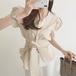 【tops】絶対流行おすすめファッションパフスリーブ2色シンプルトップス M-0107