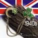 英国 ヴィンテージ☆幸せのシャムロック 三日月 グリーン ラインストーン  セーターピン  1940s ENGLAND刻印 羽織り紐にも
