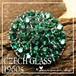 ヴィンテージ  チェコガラス★鮮やかな ビリジアン グリーン クリスタル クラスター ブローチ 1960s