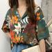 レトロ オシャレ カジュアル 折り襟 半袖 花柄 着痩せ シャツ・トップス