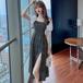 【dress】今季マストバイエレガントチュニック切り替え花柄ワンピーススリット