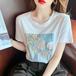 【tops】着回し最強肌触りいいプリント優しい雰囲気Tシャツ2色人気デザイン