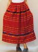 S~XLサイズ【アメリカ製古着】メキシコ民族織ヴィンテージ◆赤にカラフルな鳥やトライバル◆ロング丈スカート