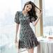 【dress】美人度アップスウィートVネック花柄着痩せワンピース着心地良い M-0258