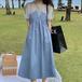 【dress】美人度アップカジュアルラウンドネック切り替えデートワンピース M-0422