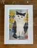 原画「猫と黄色い薔薇」ポストカード原画