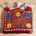 70sビンテージOLDベロア民族衣装エスニック花柄キャップ刺繍ハット帽子モンゴル
