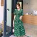【dress】輝いて超人気 ! Vネック着痩せ手触りいい花柄ワンピースゆったり