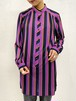 (TOYO) stripe pattern l/s no collar long shirt