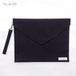 【黒色スネーク柄】封筒型クラッチバッグ Lサイズ(ストラップ付)/PCケースにも♪