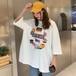 【トップス】清涼感たっぷりルーズ個性的なプリント半袖Tシャツ18083322