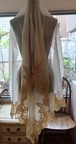 送料無料【特別価格】3サイドフランス製レースカシミヤの羽衣エンジェルストール/アイボリー×ゴールド