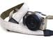 カメラストラップ 3㎝巾 一眼レフ&ミラーレスカメラ用 こぎん刺し 亀の甲と市松 生成x白銀ラメ