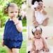 送料無料【予約】60㎝~90㎝ ノースリーブ レースロンパース 女の子 春夏 ジャンプスーツ かわいい 白 青 ピンク 出産祝い №151